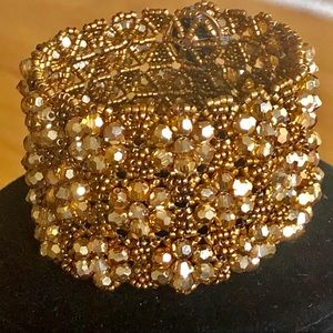Jewelry - Wide Bead and Crystal Cuff Bracelet